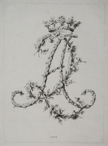 etching of decorative floral monogram (A & R), c.1760, Paris ...