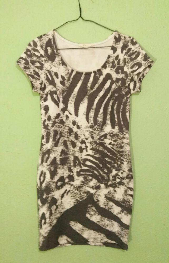Forever 21 Animal Print Bodycon Dress gray & white stretchy  #FOREVER21 #Casual