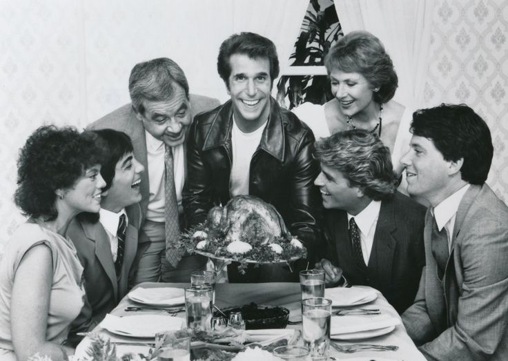 The Cunninghams from 'Happy Days' pose for a highly-retouched 1983 Thanksgiving photo. Left to right are Erin Moran, Scott Baio, Tom Bosley, Henry Winkler, ...