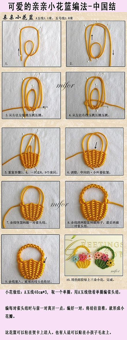 Picture tutorial: Basket from string - in Chinese, but pictures tell most of the story