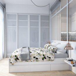 Студия LESH | Необычная спальня со стеклянной перегородкой, ведущей в кухню