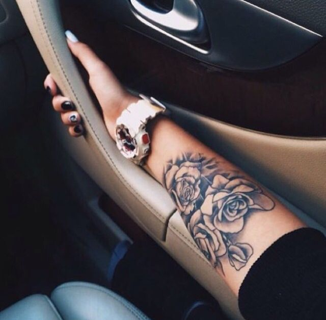 Arm tattoo, rose tattoo, rose arm tattoo, girly tattoos
