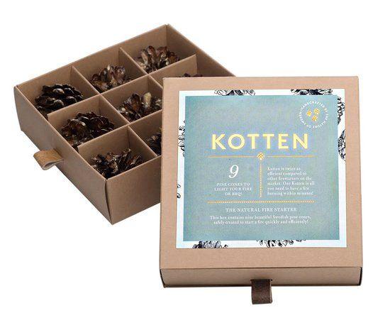 9 Kotten aanmaak dennenappels – uit Zweden -  aanmaakblokjes - voor de open haard -  BBQ of Grill – cadeauverpakking