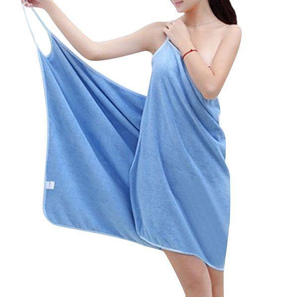 Sexy Deep V Spaghetti Strap Bath Dress Quick-dry Bathrobe For Women