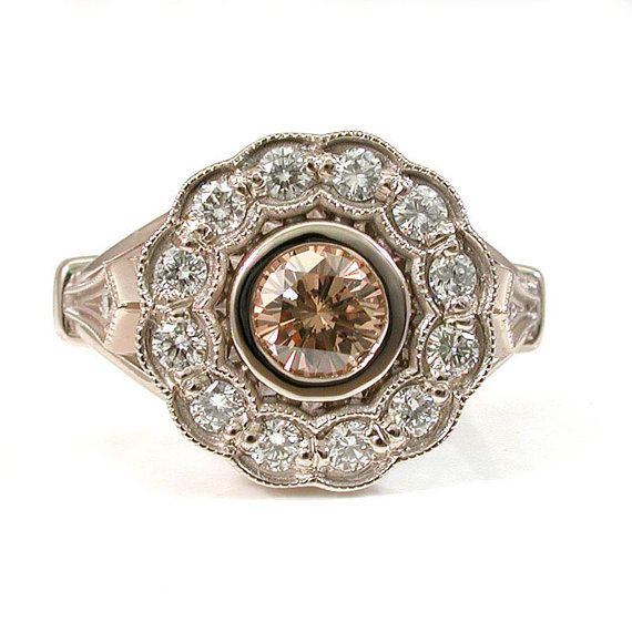 Art Deco Diamond Ring  Champagne Diamond by SwankMetalsmithing   http://www.etsy.com/listing/113867564/art-deco-diamond-ring-champagne-diamond