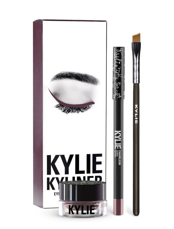 """Chameleon is a soft shimmering plum. Each Kyliner Kit contains: 1 Crème Gel eyeliner (0.11 fl oz./ 4.00 grams) 1 Pencil Eye Liner (net wt./ poids net .04 oz./ 1.2g) 1 full sized synthetic small angled brush The #KylieCosmetics Kyliner Kit combines the perfect shades, textures and tools to create the most defined and sultry """"Kylie eye."""" Each Kyliner Kit contains a crème gel eyeliner, eyeliner pencil and a full sized eyeliner brush. Crème Gel Eyeliner This ultra-long we..."""