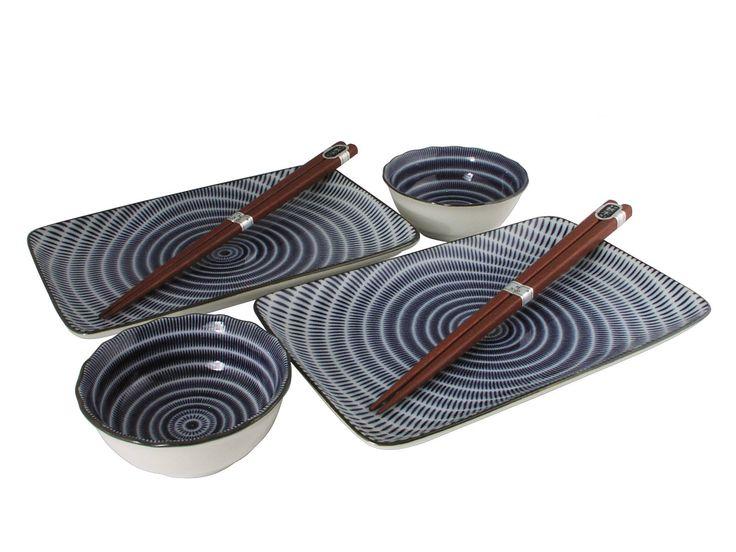 Black and White Modern Spiral Asian Dinnerware Set
