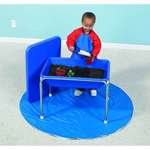 Small Sensory table has white boots, no casters. Tub is made of sturdy, weather-proof plastic with a rust-proof chrome steel frame. Lids sold as a set.