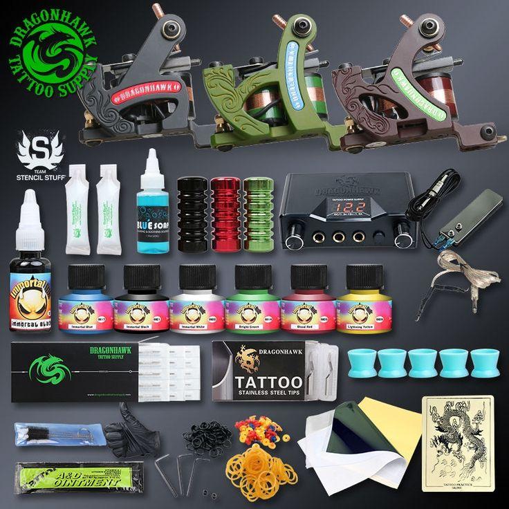 79.99$  Watch now - http://alisw0.worldwells.pw/go.php?t=32688309070 - Professional Tattoo Kits Top Artist Complete Set 3 Tattoo Machine Gun Lining And Shading Tattoo Inks Power Needles Tattoo Supply 79.99$