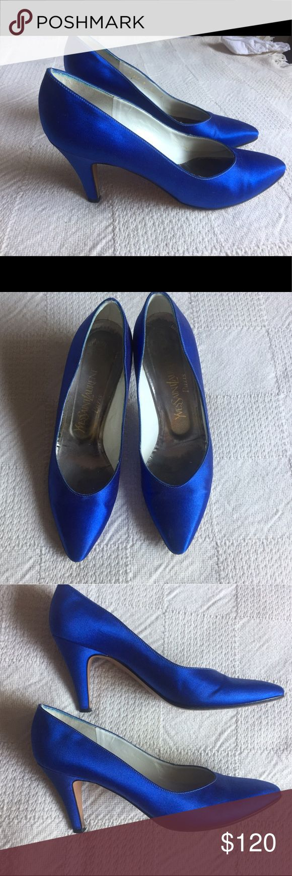 Yves Saint Laurent bright cobalt blue kitten heels Authentic designer YSL Yves Saint Laurent bright electric blue kitten pumps. Gorgeous shoes! Very similar to the famous ones always seen on Carrie Bradshaw in Sex and the City. Excellent condition. Only minor flaws. Very few wears too, as you can see from the clean bottoms. Made in Italy. Satin. Easy to wear all day because of the low kitten heel. Size 8.5. Color is a bright cobalt or royal blue. Or peacock blue. Great pop of color for a…
