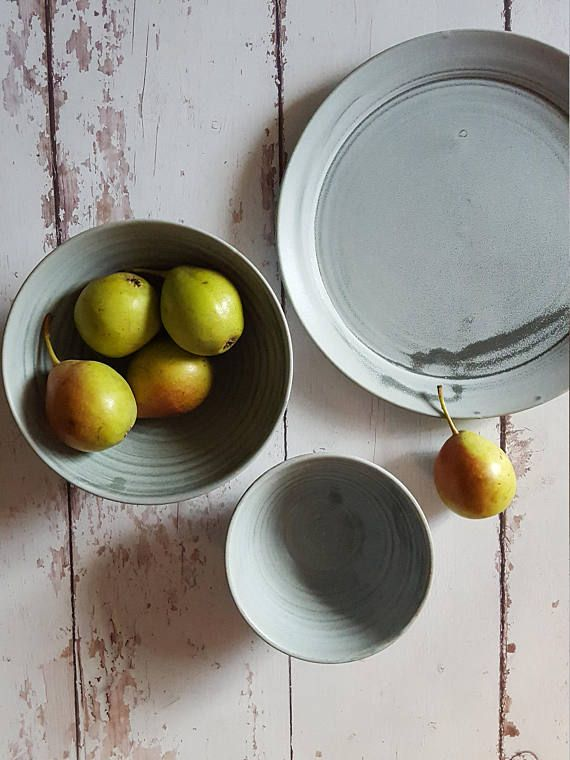 Ceramic Dinnerware, Gray Dinnerware, Gray Dinner Plate Set, Gray Dinner Plates, Gray Plates, Unique Dinnerware Sets, Pottery Dinnerware  3 pieces matte gray stoneware dinnerware set. Ideal for either breakfast, lunch or dinner! Ideal for everyday and on special occasions! This Rustic Earthy look that will add drama to every dining table. The matte gray glaze has a unique interesting texture that makes each item extraordinary. Its also very subtle so it highlights any kind of food in the…