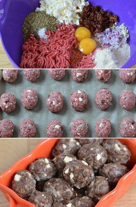 Skønne frikadeller fyldt med græskinspirerede smage fra feta, oregano og soltørrede tomater. Frikadellerne er ekstra nemme, da de steges i ovnen.