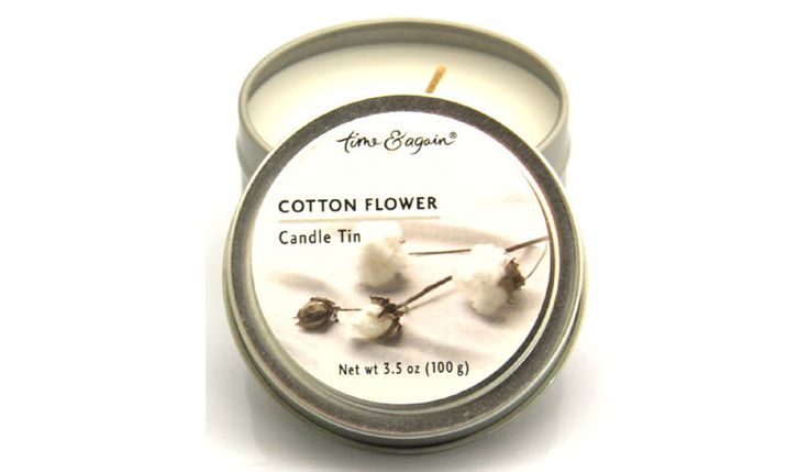 Time & Again Scented Candle Tin - Cotton Flower