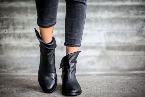 VENDITA stivali neri Stivali alla caviglia in pelle di abramey