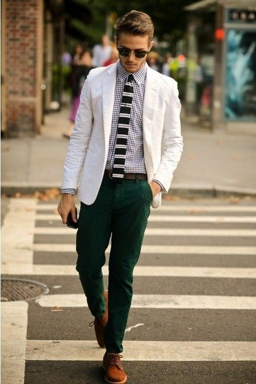Shop Adam Gallagher's look for $267:  http://lookastic.com/men/looks/blazer-and-longsleeve-shirt-and-tie-and-chinos-and-derby-shoes-and-belt/137  — White Cotton Blazer  — White and Black Gingham Longsleeve Shirt  — Black and White Horizontal Striped Tie  — Dark Green Chinos  — Brown Suede Derby Shoes  — Dark Brown Leather Belt