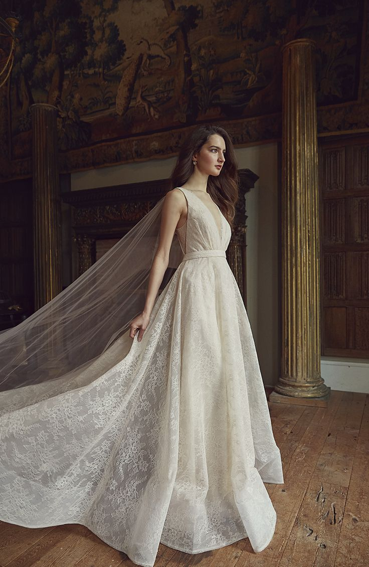 Jenny Yoo Collection 2018 Bridal, the Adina bridal gown features a  plunging V n…