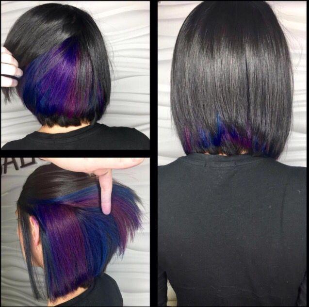 Image Result For Bob With Hidden Color Short Hair Styles Hair Styles Peekaboo Hair