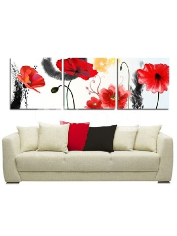 Beautiful Canvas Rimless Handwork Oil Painting Of Flower
