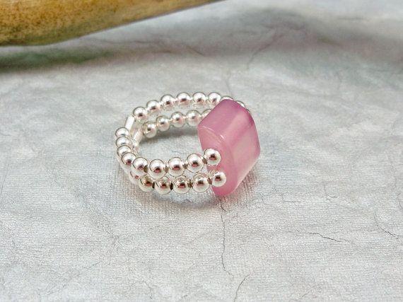 Stretch Band Ring, Pink Stretch Band Ring, Stretchy Ring, Stretchy Handmade Ring, Womens Ring