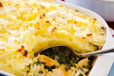 Chicken and spinach pie with potato topping