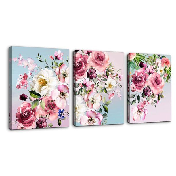 Wendana Flower Canvas Wall Art For Woman Wall Decor Pink White Flowers Picture 3pcs Framed Artwork Modern Plant Floral Canvas Prints For Kitchen Home Bathroom G Flower Canvas Wall Art Flower