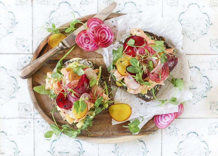 Hot smoked trout open sandwich
