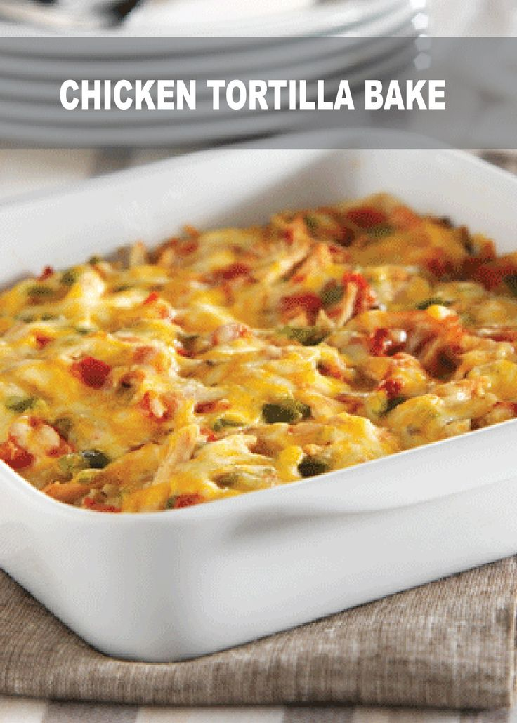 This Chicken Tortilla Bake is easy to make for a weeknight dinner! It is only 276 calories and makes about 6 servings. Perfect for leftovers!