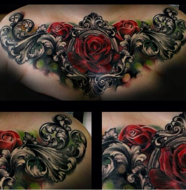 Love the rose and filigree | Tattoos | Tattoos, Chest ...