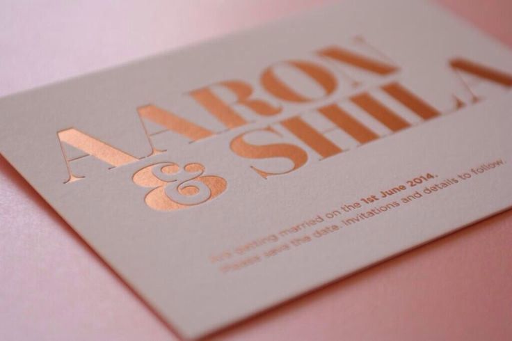 Save the date. Rose gold foil Block.