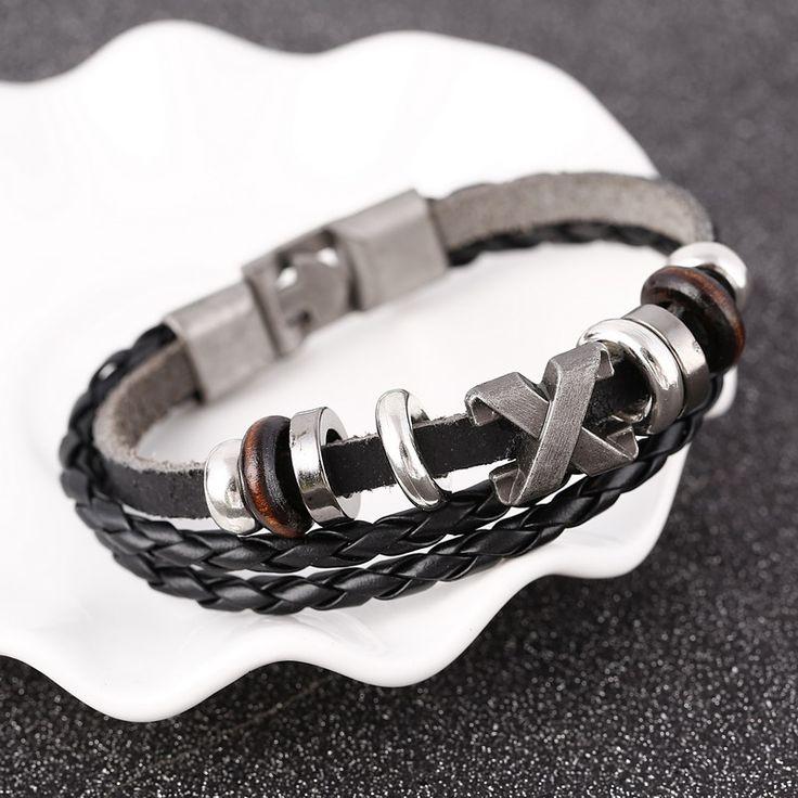 Handmade Retro Leather Woven Anchor Cross Charm Bracelet Men Vintage Braided Bracelets Bangles Male Jewelry