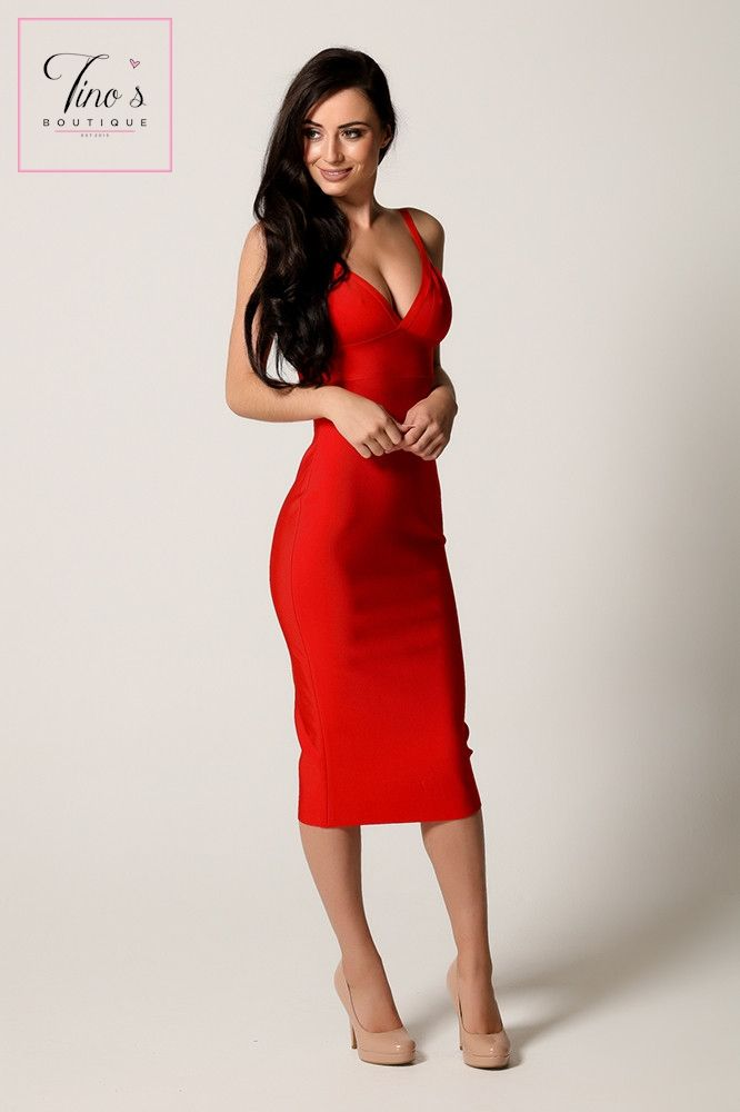 Working on the bod to wear this!'Adele' Red Plunge Neck Bandage Dress
