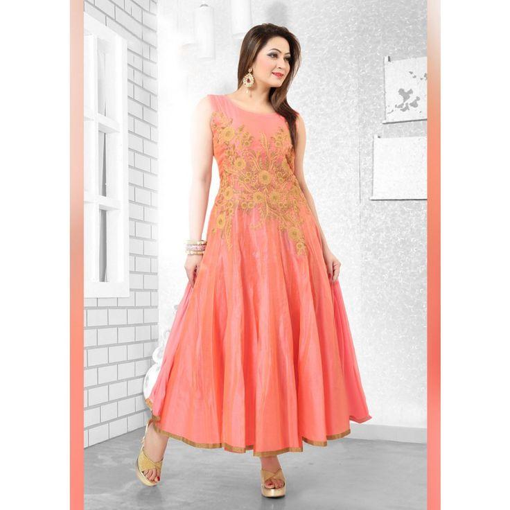 Peach Art Silk Readymade #Anarkali Suits With Dupatta-$75.86