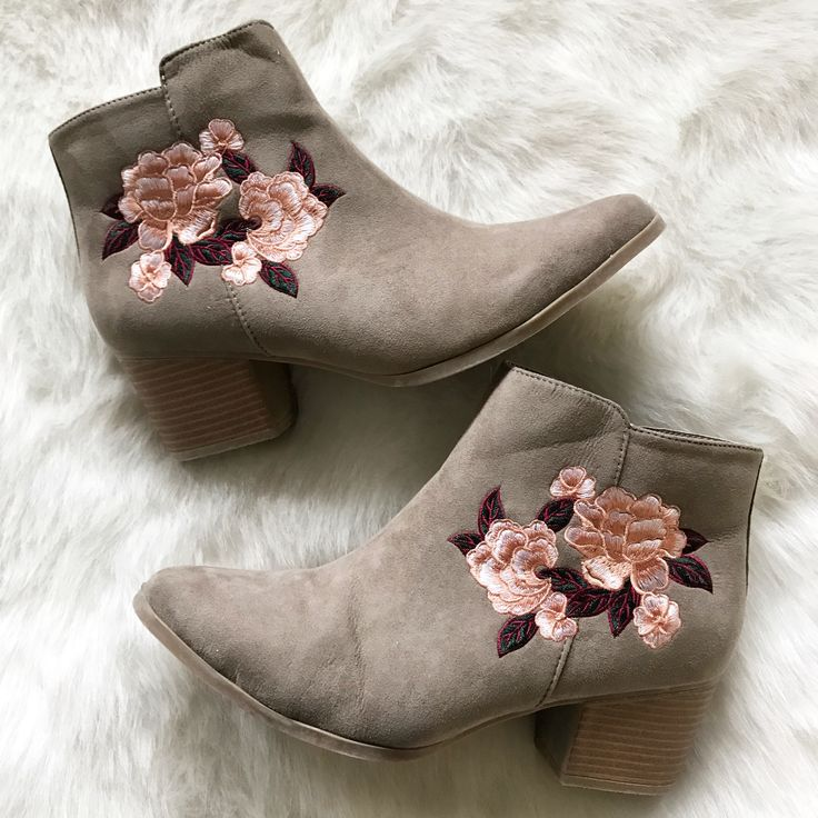 || Flower Detailed Suede Bootie || The Flower Detailed Suede Booties are at the top of the trending charts for this season! You won't want to miss out of this hot number!