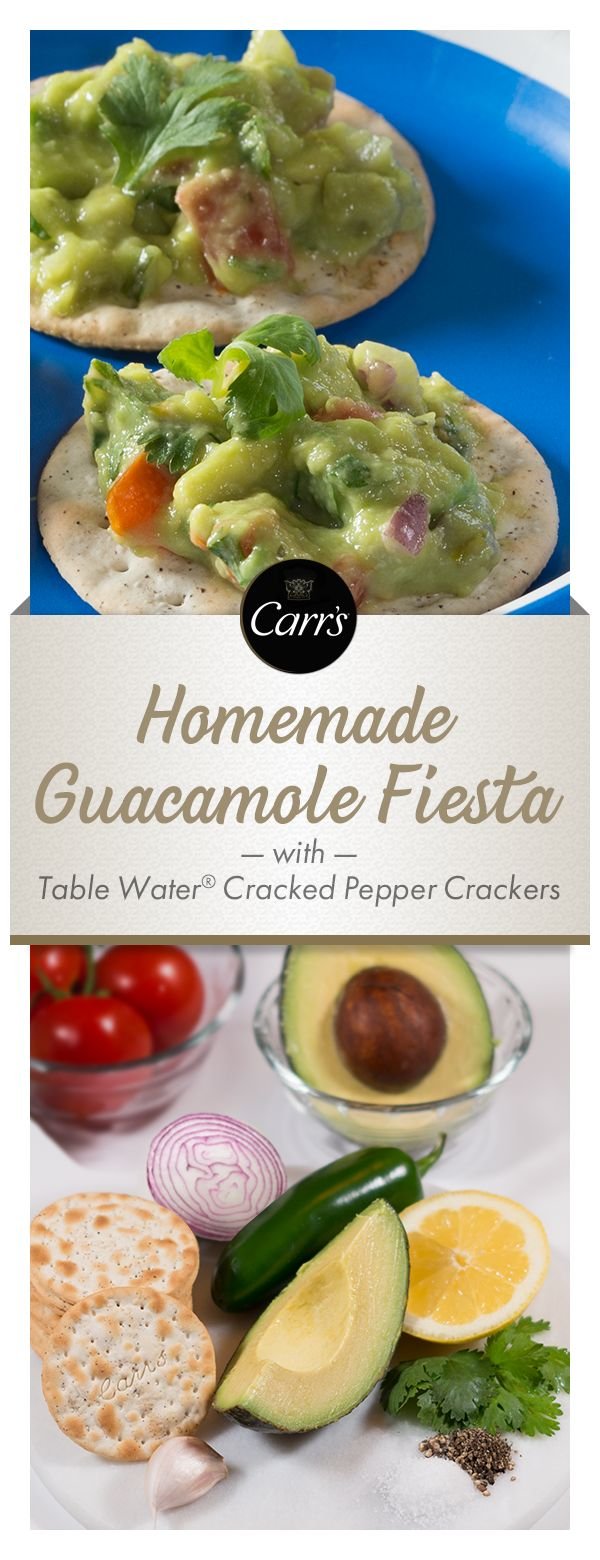 Carr's® Table Water® Cracked Pepper brings out the zing in this colorful and flavorful easy Guacamole appetizer. Perfect for Cinco de Mayo!