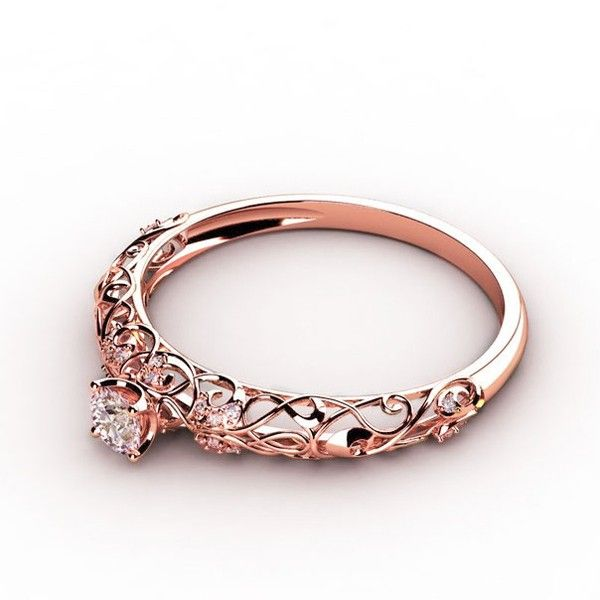 Vintage Rose Gold Plated with Swarovski Element 925 Sterling Silver Women's Ring