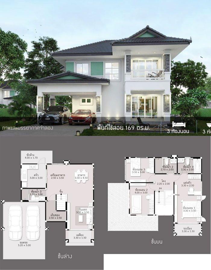 Classic Two Storey House Design With Three Bedrooms One Storey House Home Building Design House Layout Plans