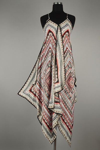 *** New Style *** Chic Lightweight Woven Scarf Dress in Gorgeous Draped Finish and Split Center Detail.