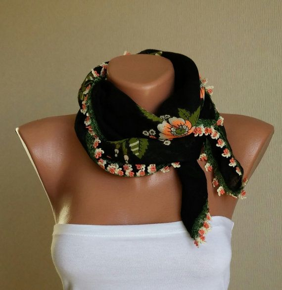 Turkish Oya Black Scarf SquareHand Crocheted Lace Ethnic by imece