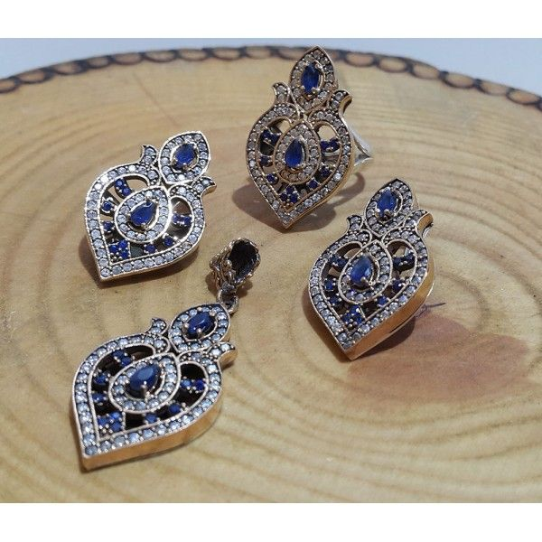 Authentic Sterling Silver Sapphire Set #silver #set #ottoman #wholesale #women #fashion #turkish #handmade #jewelry #jewellers #jewellery #jewel #ruby #granat #emerald #sapphire #gemstone #new #antique #ring #earring #necklace