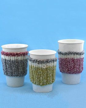 Free Knitting Pattern - Cozies: Work Sock Cup Cozy