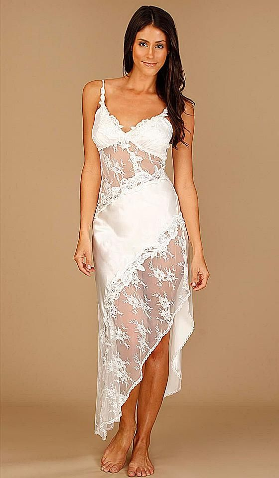 Women s Ivory Bridal Summer Satin   Lace Nightgown by In-Bloom by Jonquil e32ef6f03