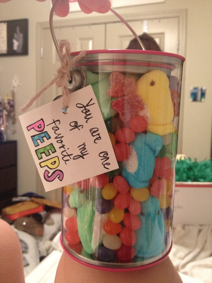 Easter Care Package : TIP- Boxes of Peeps took up too much room. So I made this instead! (Insides: Peeps of all colors, Jelly Beans, Jolly Rancher Sour Gummies)