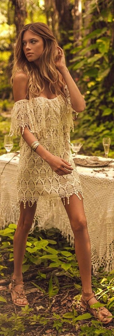 Summer style   Cute boho lace mini dress and sandals