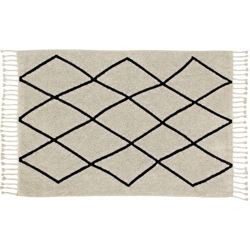 Tapis coton écru et motif graphique noir Berbère Lorena Canals 140X220