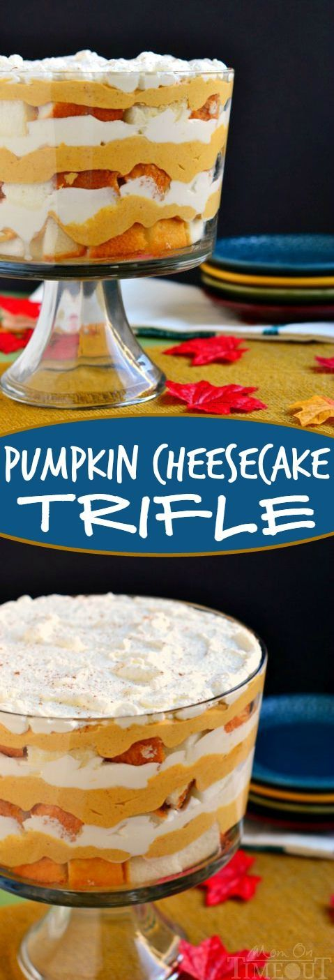 Pumpkin Cheesecake Trifle - This gorgeous dessert takes less than 20 minutes to prepare and is a total show stopper! Layer after layer of fall goodness!
