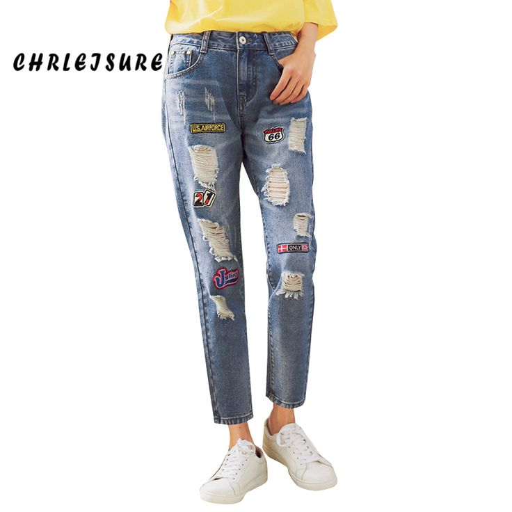 New Spring Patch Ripped Jeans For Women Straight Trousers Ankle Length Pants Denim Clothing Torn Hole Jeans With Embroidery