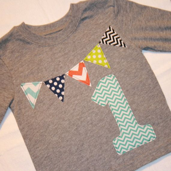 Boys 1st Birthday Pennant Shirt gray aqua by ThePolkaDotTotSpot