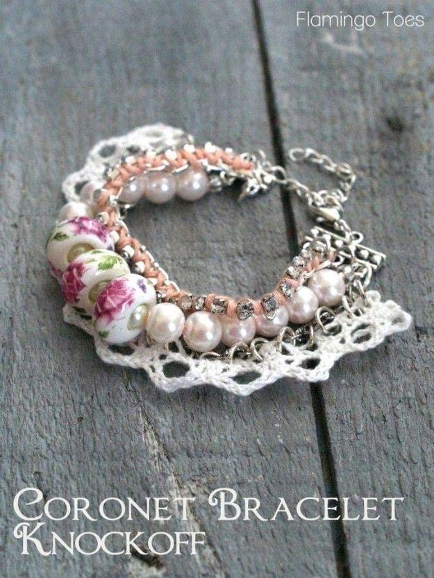 Lace, Beads, and Rhinestones | Community Post: 20 Super Easy DIY Bracelets