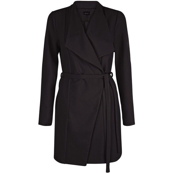 New Look Black Waterfall Duster Coat ($36) ❤ liked on Polyvore featuring outerwear, coats, black, waterfall coat, long sleeve coat and duster coat