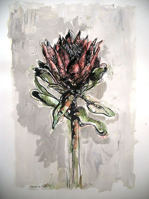 Title: Protea 3 Medium: Mixed media on paper: Printing ink and thinners/Chalk pastel/Pen and ink/Oil paint Size: 595mm x 420mm